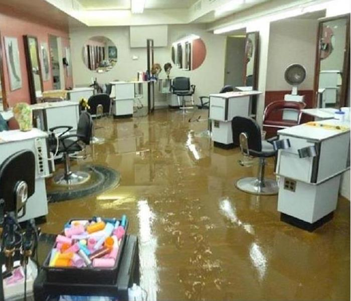 Commercial Flood Damage – Citrus Heights Beauty Salon Before