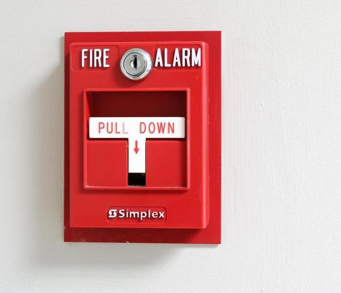 Fire alarm on a wall