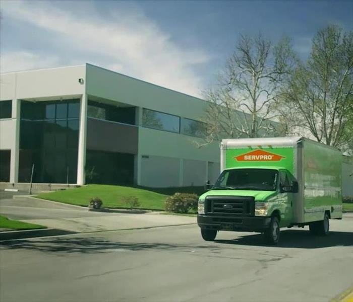 Commercial building with SERVPRO truck outside