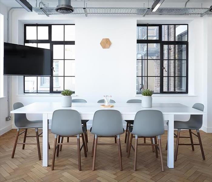 Office with white furniture