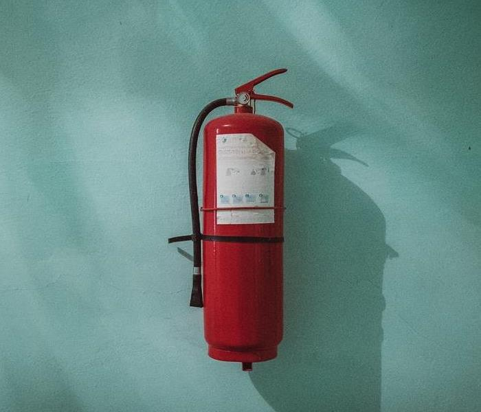 Fire extinguish with blue background