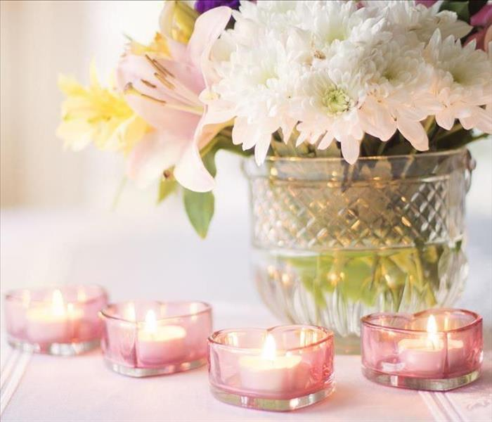 pink flowers and candles
